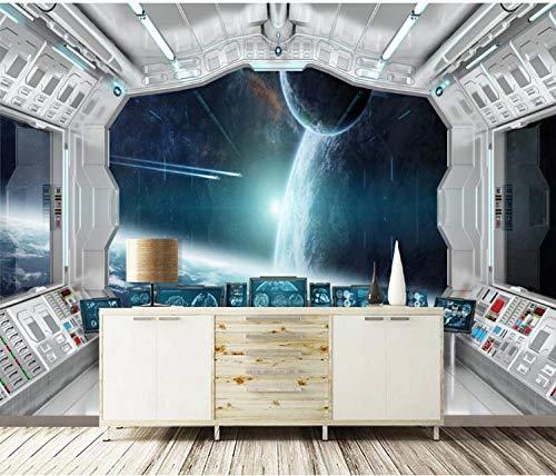 Papel Pintado Pared 3D 250X175Cm Papel De Pared Mural Pared Espacio Túnel Estrellado Cápsula Espacial