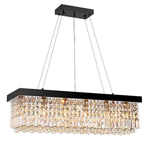 7PM W47' x D10' Modern Rain Drop Rectangle Clear K9 Crystal Chandelier Pendant Lamp Lighting Fixture 10 Lights Required for Dining Living Bedroom Room Black Finish