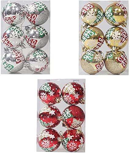 Decoraciones navideñas 18pcs Bola de Navidad del ornamento del divisor de bola de plástico árbol de Navidad Chucherías colgantes colgante de fiesta de la boda decoración de la ventana de vacaciones