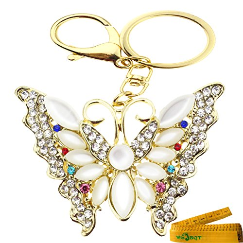 Bling Bling Metal Crystal Rhinestone Artificial Jewel Keychain Car Phone Purse Bag Decoration Holiday Gift White Butterfly