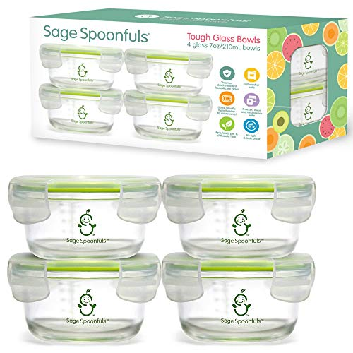 Sage Spoonfuls Tough Glass Bowls Baby Food Storage Containers with Lids - 4 7-Ounce Bowls - Durable and Safe for the Fridge/Freezer, Microwave, Oven