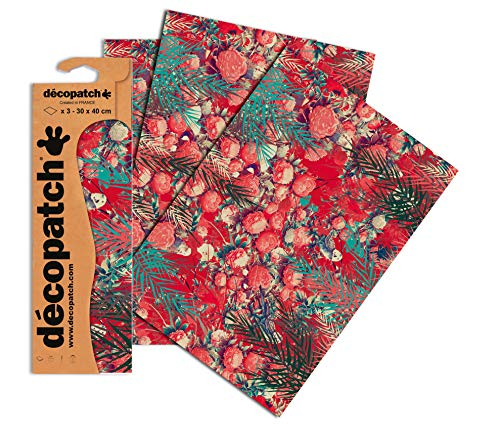Decopatch Papier No. 754 (rot Pfingsrose, 395 x 298 mm) 3er Pack