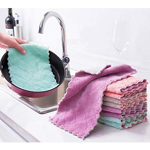 MONLEYTA 10 stuks dubbelzijdig vaatdoek schoonmaken wasbare schotel Rag herbruikbare anti-aanbakolie