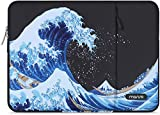 MOSISO Funda para portátil Compatible con MacBook Pro 16 A2141, DELL XPS 15,Compatible con MacBook Pro Retina A1398,15-15,6 Pulgadas Notebook,Bolsa Blanda Vertical de Poliéster Sea Wave con Bolsillo
