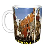 Tazza da caffè in ceramica da 311,8 ml, tazza da caffè o tè per festa di compleanno, Natale, vintage, Verona, Italia, colore: bianco