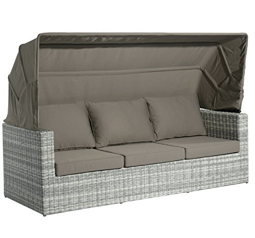 Home Islands Kyoko Loungesofa Gartensofa 3-Sitzer Polyrattan mit Sonnendach