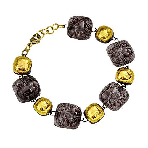 Pulsera marrón para mujer • Vidrio burbuja checo • Acero quirúrgico bañado en oro • Ancho 1,5 cm • Joyas de diseño • Hecho a mano en Europa