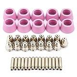 Kit de electrodo de boquilla, 40pc / set AG60 SG55 Cortador de plasma Antorcha de corte Consumibles Electrodo Boquillas Kit de copas