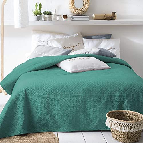 JEMIDI Tagesdecke 170cm x 210cm Bettüberwurf Bettüberwurf Sofaüberwurf Bett Decke gesteppt Tages Tagesdecken Betthusse (Dunkelgrün)