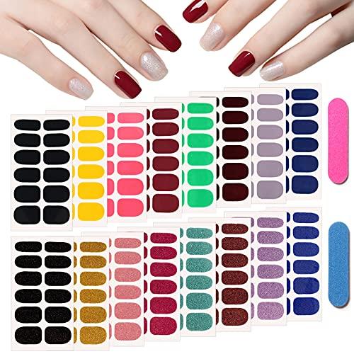 EBANKU 16 Blatt Glitzer Nagellack Aufkleber Nagelsticker Selbstklebende Nagelfolie Einfarbige Nagel Abziehbilder Nail Art Aufkleber mit 2 Nagelfeilen Für Frauen Mädchen Nagelwickel