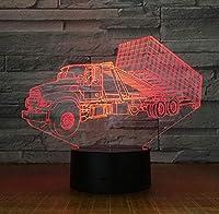 コンテナトレーラートラック3Dステレオランプ寝室Led雰囲気クリエイティブベッドサイドテーブル照明器具Usbナイトライトキッズギフト
