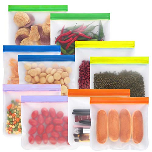 Reusable Sandwich Bags,Food Storage Freezer Bags 10 Pack PEVA Multi Functional Storage Bags Leakproof Ziplock Bag Snack Bags Eco-Friendly Bags for Lunch, Fruits, Travel (Free Cleaning Brush)