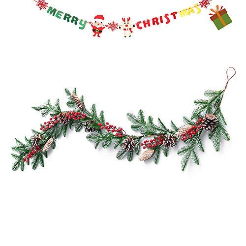 Enhome Weihnachtsgirlande mit Beleuchtung, Tannengirlande Weihnachtsdeko Weihnachtstürdekor für Innen und Außen Verwendbar mit 8 Modus Lichterkette (150cm=59inch)