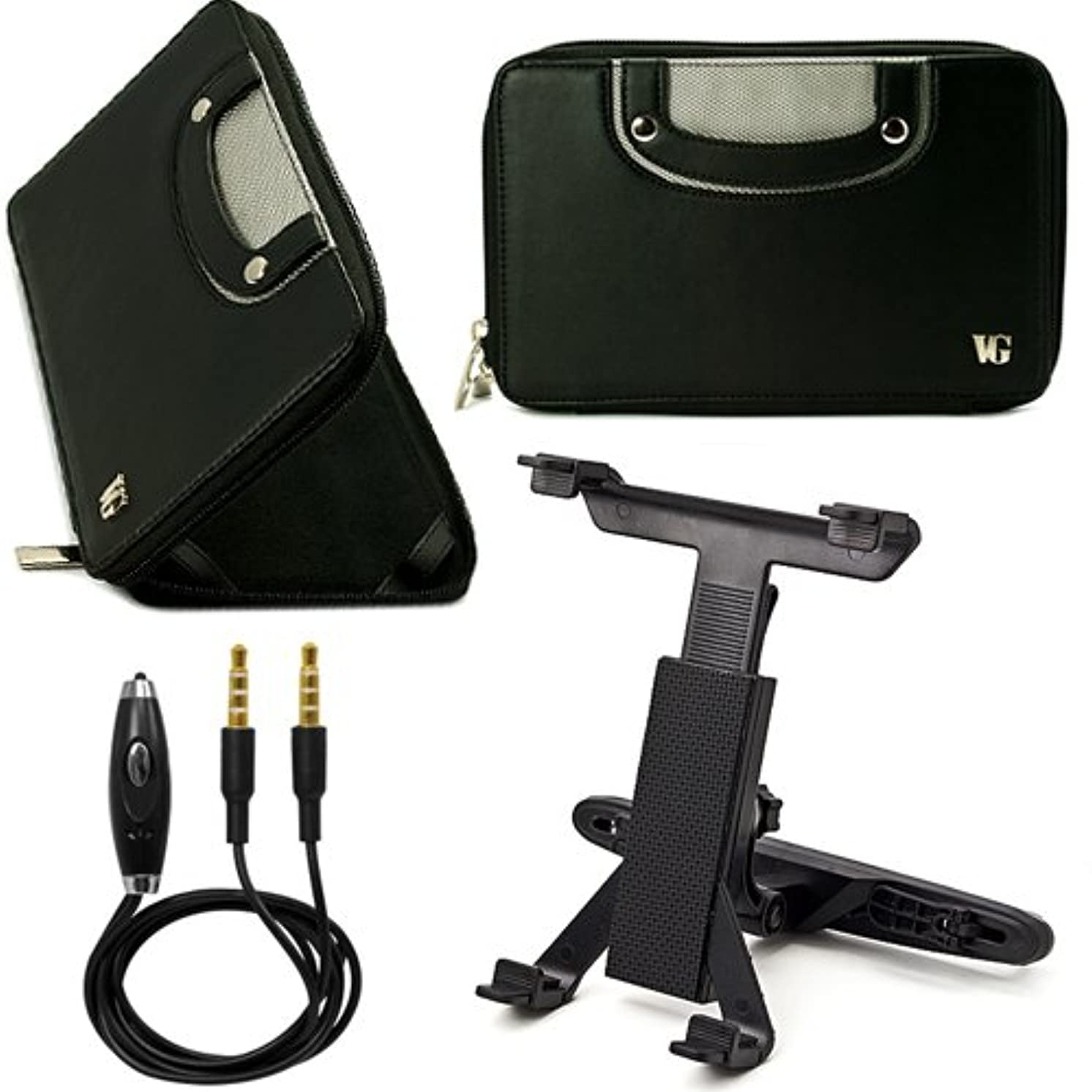 """Black VG Executive Leatherette Premium Book Style Protective Folio Case with PU Leather Carrying Handles for Nextbook Premium 7se Android Google Play 7"""" TFT Capacitive Display Tablet + Headrest Tablet Mount Holder with Adjustable Grip Legs + 3.5mm to 3.5mm Stereo Auxiliary Audio Cable With Built In Microphone & on/off Switch"""