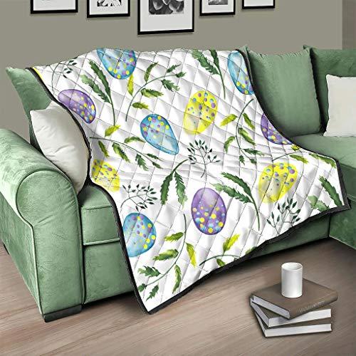 AXGM Colcha multicolor con diseño de huevos de Pascua y plantas verdes, 230 x 280 cm