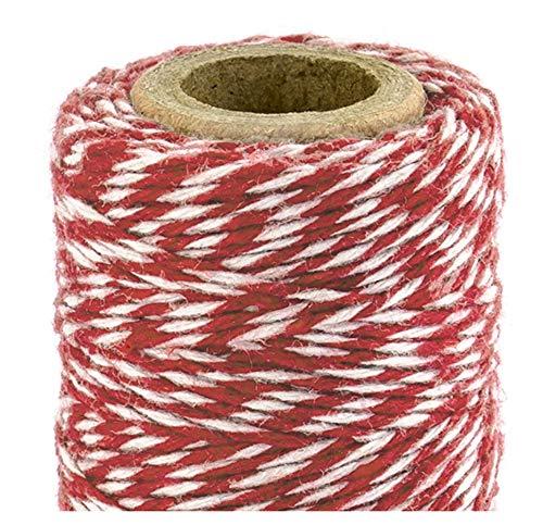 Libetui Backschnur aus Baumwolle Bäckerschnur Packschnur Geschenkverpackung Bastelschnur Geschenk verpacken Schnur 50m (Rot-Weiß)