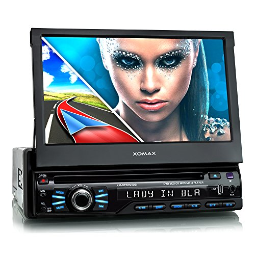 XOMAX XM-DTSBN929 Autoradio mit GPS Navigation I Bluetooth I 7'/ 18 cm Touchscreen I DVD, CD, 2X USB, SD I Anschlüsse für Rückfahrkamera & Lenkradfernbedienung I 1 DIN
