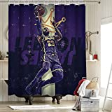 2020 FMVP Lebron James 23 Rd cortina de ducha impermeable resistente al agua cortina de ducha forro anti Los Ángeles Lakers Campeonato King Crown Art Sports Player Poster 62x72 pulgadas