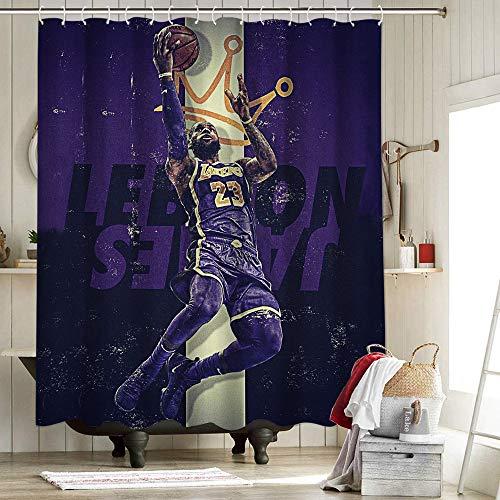 2020 FMVP Lebron James 23 Rd cortina de ducha de tela decoración del hogar Cortina de ducha Los Ángeles Lakers Campeonato King Crown Art Sports Player Poster 72 x 72 pulgadas