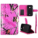 Wallet Case Camo Pink Mozzy For ZTE Prelude 2 Zinger Z667G Whirl 2 Faux Leather ID Pouch Credit Card Cash Holder Folding Cover Stand Case