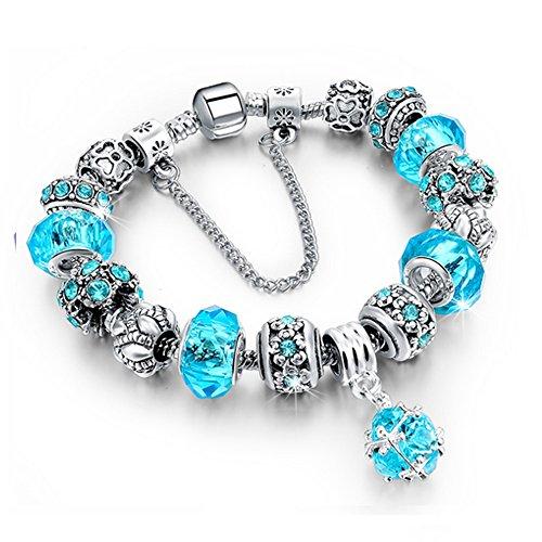 Beloved ❤️ Damenarmband mit Kristallen - Pandora kompatibel - mit Perlen und Anhängern - versilberte Perle, Glas und Kristalle - mit dekorativer Kette - Anhänger (hellblau)
