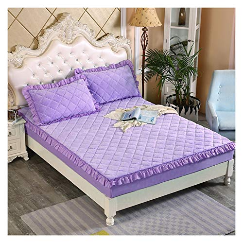 Fitted Bed Cover Sweat Absorption Warm Quilted Mattress Protector Cover Breathable Dehumidification Velvet For Bedrooms (Color : Light purple, Size : 200x220cm)
