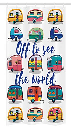 """Ambesonne Camper Stall Shower Curtain, Off to See The World Inspirational Words Mini Caravans Background Vintage Trip Image, Fabric Bathroom Decor Set with Hooks, 36"""" X 72"""", Multicolor"""