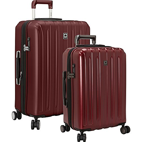 DELSEY Paris Delsey Luggage Titanium 2 Piece Hardside Spinner Carry on and Check in Set  One Size  Cherry Red