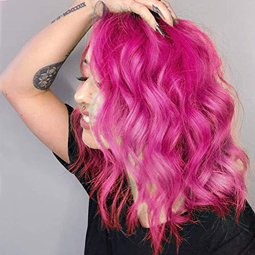 Nnzes Pink Bob Wig Short Bob Wavy Curly Wig Synthetic Hot Pink Cosplay Bob Wig Shoulder Length Hair for Women Middle Part Pink Halloween Heat Resistant Hair