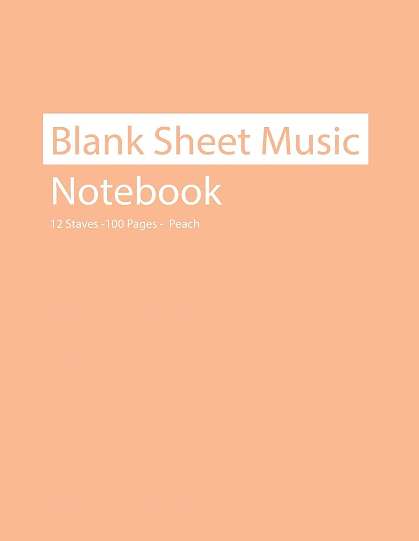 自信があるステレオ八Blank Sheet Music Notebook 12 Staves 100 Pages Peach