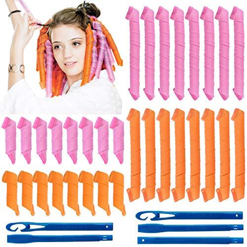 32Pcs Magic Spiral Lockenwickler Spiral Curls Styling Kit Keine Hitze DIY Haarstyling Werkzeuge mit 2 Sätzen Styling Haken Werkzeuge für Mädchen Frau (Orange und Pink,20cm und 45cm)