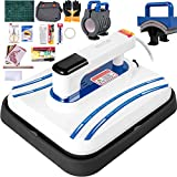 VEVOR Heat Press 12 x 10 Inch Easy Press 800W Blue 4 in 1 Mini Press Portable Easy Mini Press Vibration Function Heat Press Machine for T Shirts, Caps, Mugs with Highly-Sensitive Touch Screen Display