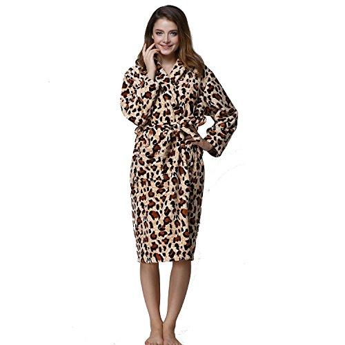 Godsen Women's Coral Fleece Bathrobe Bath Robes Sleepwear (L, Yellow Leopard)