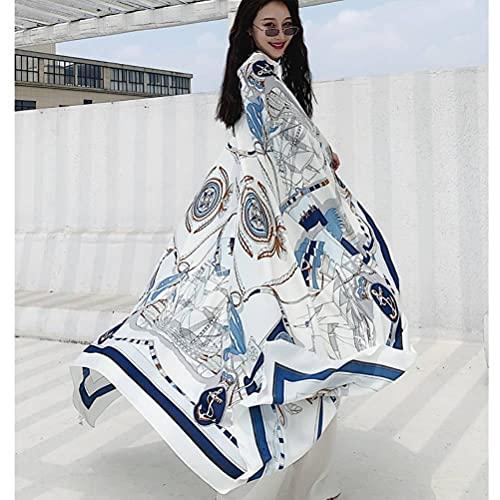 Bufanda de seda de verano fina para mujer Super grande verano al aire libre moda protector solar toalla de playa bufanda de gasa moda tul chal personalidad bufanda estilo largo (velero blanco)