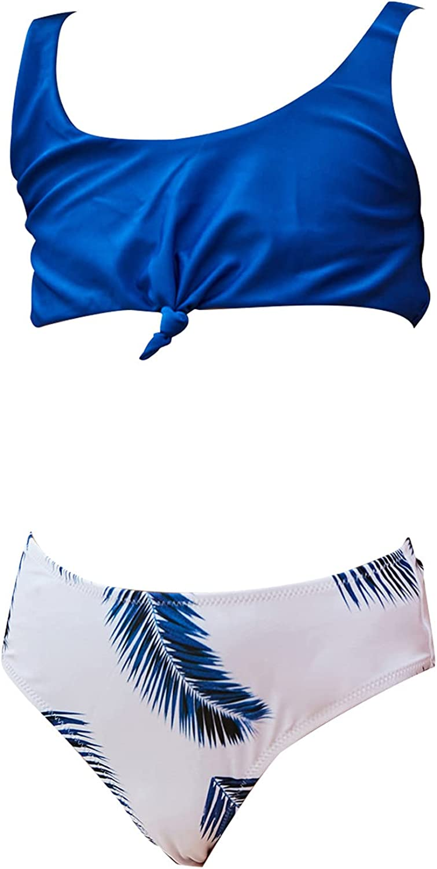 Swimsuit for Kids Teen Girls, Two-Piece Swimsuit Tropical Leaf Print Solid Color Bikini Beachwear