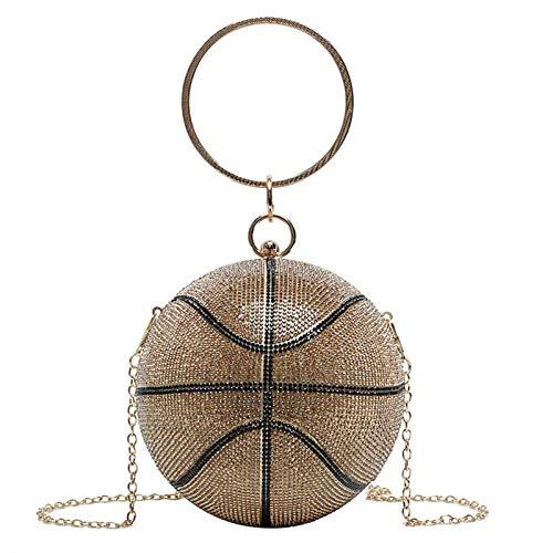 Bolso de mano con forma de balón de baloncesto para mujer, para fiesta de noche, novia, fiesta de graduación, boda