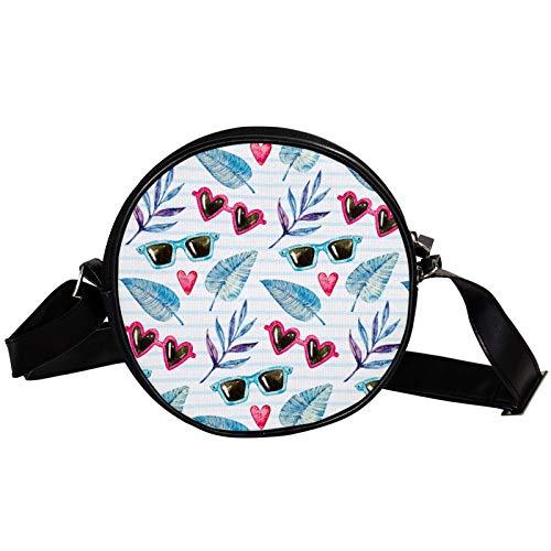 Bolso cruzado redondo pequeño bolso de las señoras de la manera bolsos de hombro bolso de mensajero bolsa de lona bolsa de cintura accesorios para las mujeres - gafas de sol y hojas