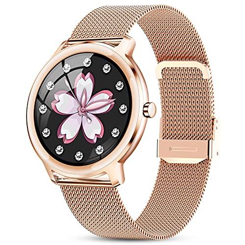 GOKOO Smartwatch Mujer Reloj Inteligente Impermeable IP67 Elegante Deportivo Actividad Inteligente Watch con Monitor de Sueño Contador de Caloría Pulsómetros Podómetro para Android iOS(Dorado)