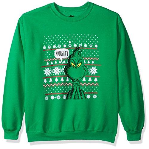 Dr. Seuss Men's Ugly Christmas Crew Sweatshirt, Naughty/Green, L