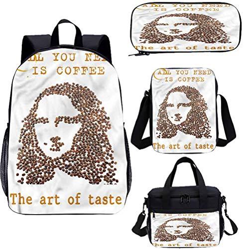 Juego de mochila para adolescentes de 15 pulgadas, granos de café con...