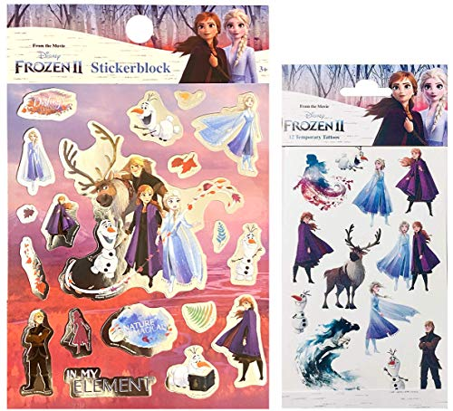TrendyMaker Disney Frozen 2, Eiskönigin Tattoo Set - 12 Haut Tattoos für Kinder + Stickerblock mit 300 Stickern - passend für Tagebuch, Freundebuch, Adventskalender, als Mitgebesel für Partytüten,...