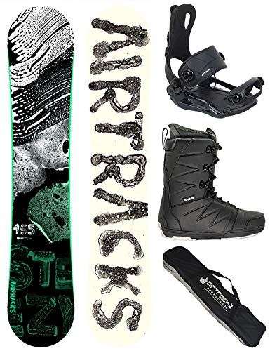 Airtracks Snowboard Set - Board STEEZY Wide 160 - Softbindung Master - Softboots Star Black 45 - SB Bag