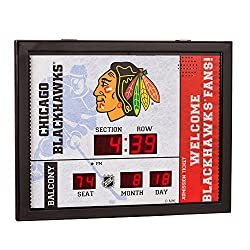 Team Sports America Chicago Blackhawks Bluetooth Scoreboard Wall Clock