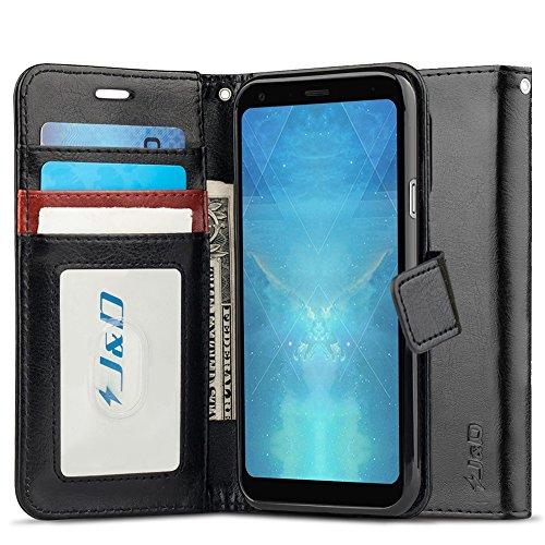 JundD Kompatibel für LG Q7/LG Q7+/LG Q7α Leder Hülle, [Handytasche mit Standfuß] [Slim Fit] Robust Stoßfest PU Leder Flip Handyhülle Tasche Hülle für LG Q7, LG Q7+, LG Q7α Hülle - Schwarz