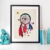 Nacnic Traumfänger Aquarell Poster. Wasserfarbe Stil