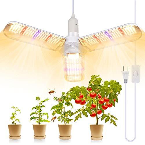 LED Pflanzenlampe, 150w pflanzenlampe vollspektrum mit 414 LEDs faltbaren für Zimmerpflanzen, Gewächshaus und Hydroponikanbau, Growlampe mit E27 Netzkabel