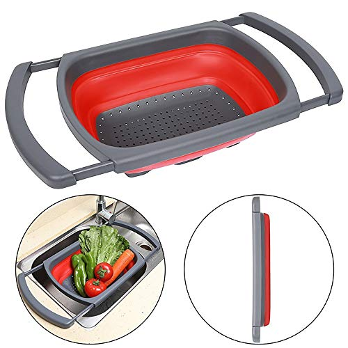 Cesta de verduras Houkiper, cesta de drenaje plegable, lavables de verduras y frutas, para cocina y camping rectángulo rosso