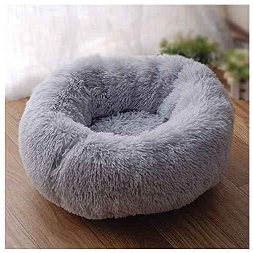 GUOCU Round Pet Bed, Donut Cuddler Nest Warm Soft Plush Dog Cat Cushion With Non-Slip Bottom For Small Medium Large Pets Sleeping Indoor, Machine Washable,Grey,5XL:120cm