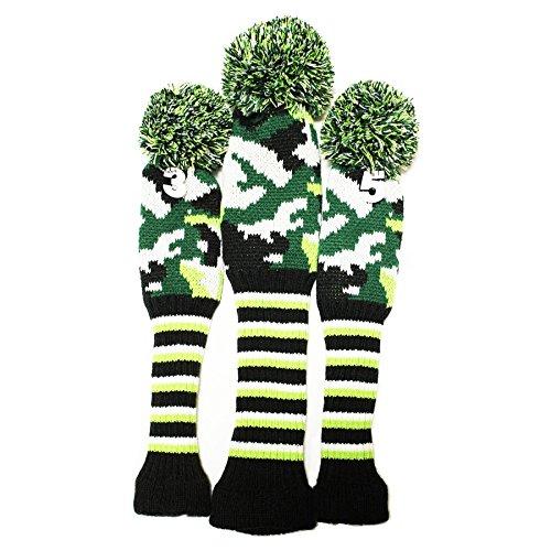 セレクトプラザ ゴルフヘッドカバー ニット製 3点セット ダイヤシリーズ 可愛数字ペンダント付け 迷彩緑