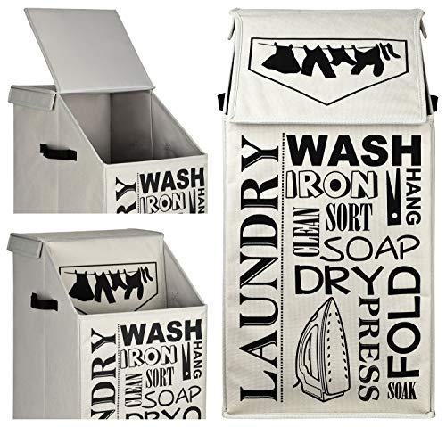 TOPP4u Design Wäschekorb mit Deckel, faltbar, grau, 60 Ltr groß - 30 x 35 x 60 cm - Wäschesammler groß, kompakte Wäschetonne mit tollem Laundry Design